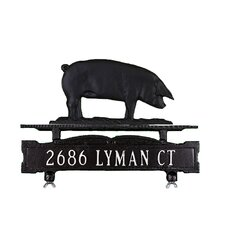 One Line Mailbox Sign with Pig