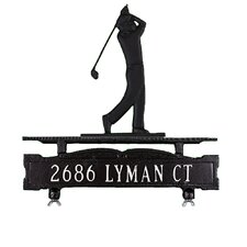 One Line Mailbox Sign with Golfer