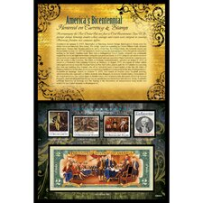 America's Bicentennial Honored on Currency and Stamps Wall Framed Memorabilia