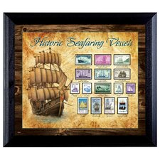Ships on Stamps Wall Framed Vintage Advertisement in Black