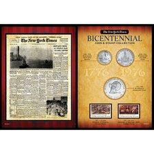 New York Times Bicentennial Coin Collection Wall Framed Memorabilia