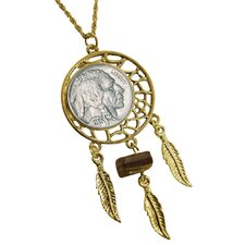 Buffalo Nickel Gold Tone Dream Catcher Pendant