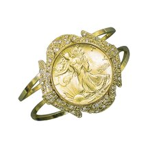 Walking Liberty Half Dollar Goldtone Coin Cuff Bracelet