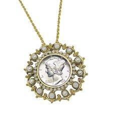 Mercury Dime Goldtone Vintage Pin/Pendant