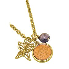 Butterfly Coin and Charm Goldtone Pendant