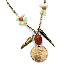 Dome Sacagawea Dollar Coin and Natural Stone Pendant