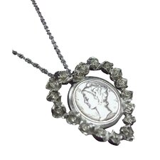 Mercury Dime Rose Heart Pendant
