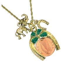Irish Penny Coin Lotto Scratcher Charm Pendant