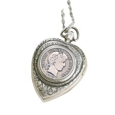 Barber Dime Heart Watch Pendant