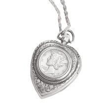 Mercury Dime Heart Pendant and Watch