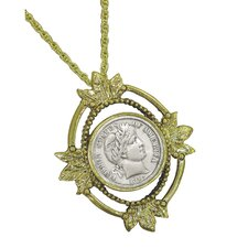 <strong>American Coin Treasures</strong> Goldtone Open Oval Leaf Barber Dime Coin Pendant
