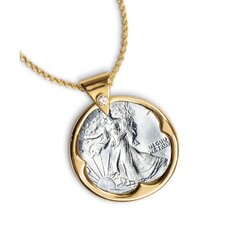 <strong>American Coin Treasures</strong> Walking Liberty Half Dollar Goldtone Pendant