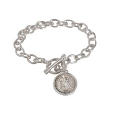 Civil War Sterling Silver Coin Link Bracelet