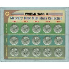 World War II Silver Mercury Dime Mint Mark Coin Display Case