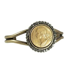 Round Crystal French Coin Marianne Cuff Bracelet