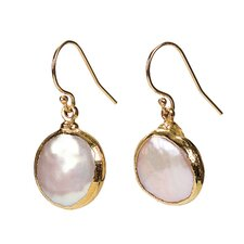 Round Cut Cultured Pearl Drop Earrings