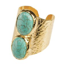 24K Gold Oval Double Turquoise Howlite Cigar Ring