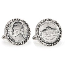 Nickel Bezel Rope Cufflinks