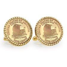Nickel Keelboat Bezel Rope Cufflinks