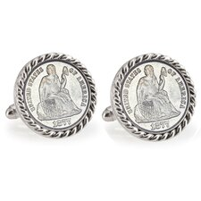 Seated Liberty Bezel Rope Cufflinks