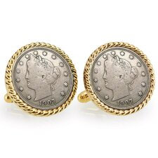 Nickel Liberty Bezel Rope Cufflinks