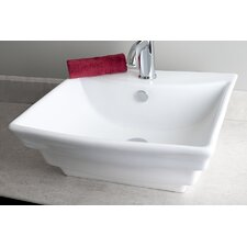 Rectangular Multi-Step Single Hole Vessel Bathroom Sink
