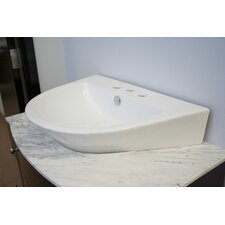 Semi-Oval Ceramic Vessel Bathroom Sink