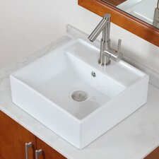Rectangular Single Hole Vessel Bathroom Sink
