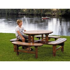 Rondo Round Pine 4 Bench Picnic Table