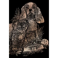 Kitten and Puppy Art Engraving