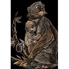 Monkey and Baby Art Engraving