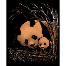 Panda and Baby Art Engraving