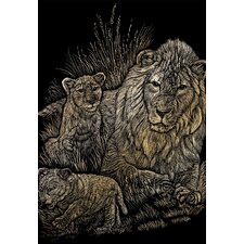 Lion and Cubs Art Engraving