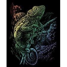 Rainbow Chameleon Art Engraving
