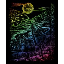 Rainbow Howl Wolves Art Engraving