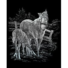 Mare and Foal  Art Engraving