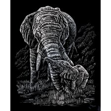 Elephant and Baby Art Engraving
