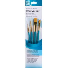 RealValue Golden Taklon Brushes (Set of 4)