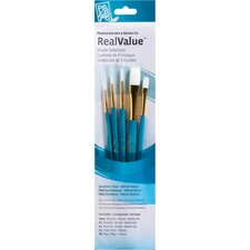 RealValue White Taklon Brushes (Set of 5)