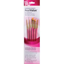 RealValue Golden Taklon Brushes (Set of 5)