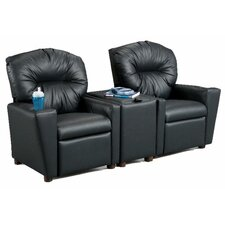 <strong>Brazil Furniture</strong> Children's Home Theater Recliner Set with Storage Console