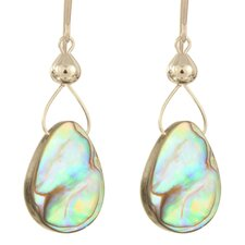 Abalone Drops Silverplated Surgical Steel Earrings