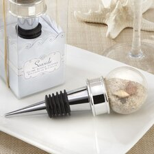 Beach ''Seaside'' Sand and Shell Filled Globe Bottle Stopper
