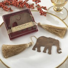 ''Lucky Elephant'' Bookmark with Elegant Gold Silk Tassel