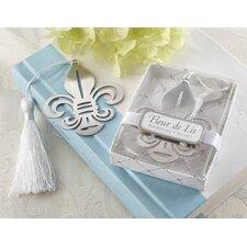 Fleur-de-Lis Bookmark with Elegant White-Silk Tassel