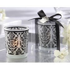 """Damask Traditions"" Frosted Glass Tea Light Holder with Kate Aspen Signature Charm"
