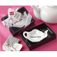 """Swee-Tea"" Ceramic Tea-Bag Caddy in Serving-Tray Gift Box"