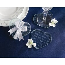 Good Wishes Heart Glass Coaster