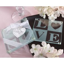 """Clearly in Love"" Love Glass Coaster (Set of 2)"