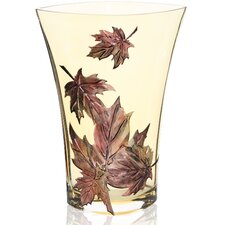 Hand Painted Glass Autumn Leaves Series I Vase